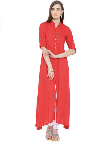 long-rayon-kurtis-red-color-plain-rayon-kurtis-with-golden-toggle-work-a067