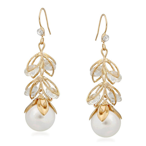Designer Jewellery Pearl Drop Gold Plated Alloy Drop Earring Set For Women