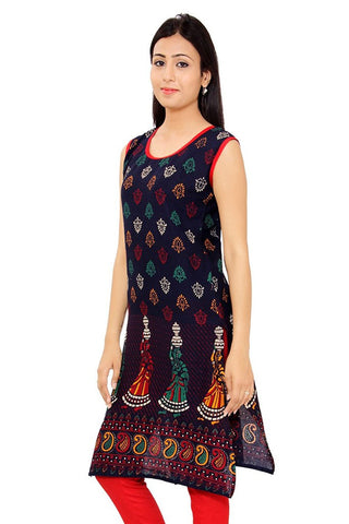 Multi Color Long Kurtis Kurtas Unstitched Printed Cotton Kurtis