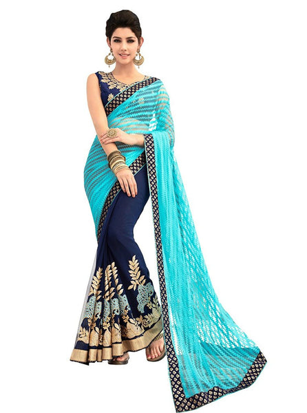 Women's Blue Colored Net And Georgette Saree Party Wear Net Saree