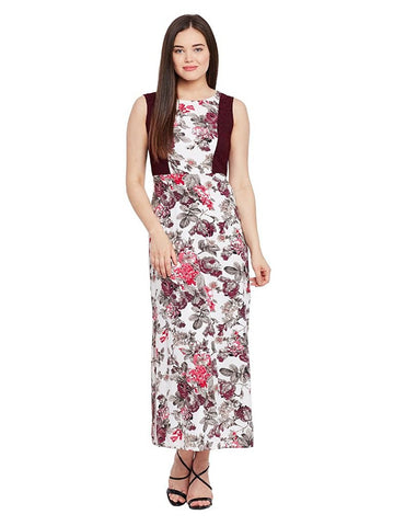 Latest Multicolor Georgette Sleeveless Side Slit Stylish Maxi Dress Floral Print With Lace At Side Panel