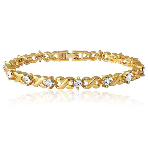 Gold Plated Brass Alloy With Crystal Single Strand Bracelet For Women