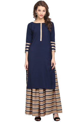 Latest Long Skirt With Kurti Navy Blue Color Long Kurti With Striped Design Skirt