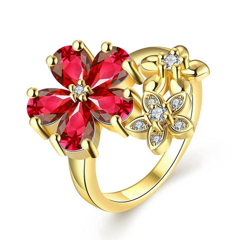 Latest Jewellery High Grade Aaa Swiss Zircon Floral Designer Ring For Women And Girls