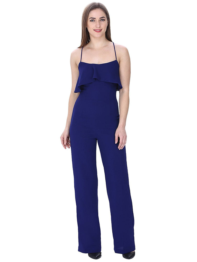 7f88d2d7ecea Shop Online Fancy Jumpsuits Sleeveless Blue Jumpsuit With Ruffled – Lady  India