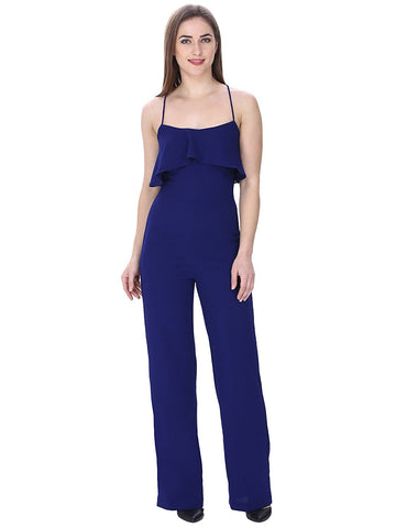 Fancy Jumpsuits Sleeveless Blue Jumpsuit With Ruffled