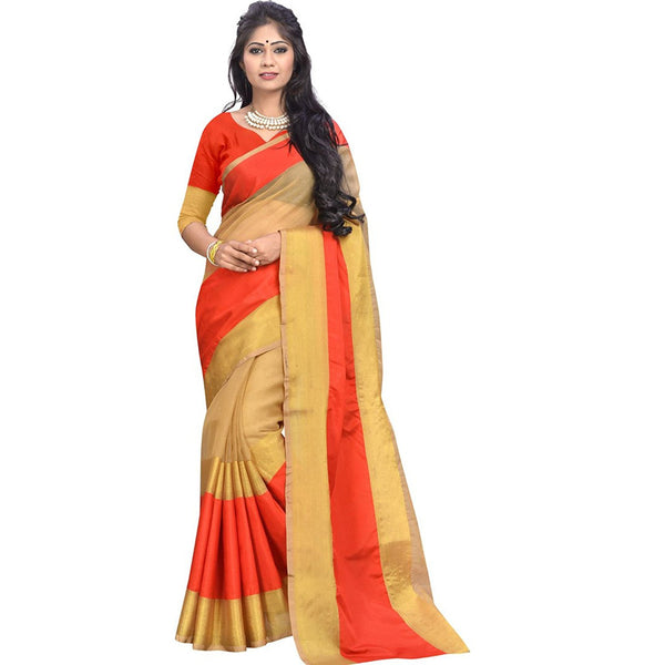 Multicolored Banarasi Cotton Silk Saree For Women S016