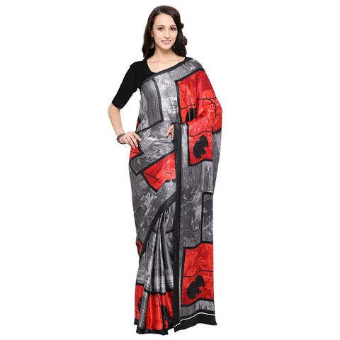 Casual Wear Printed Crepe Sarees With Black Plain Blouse Piece