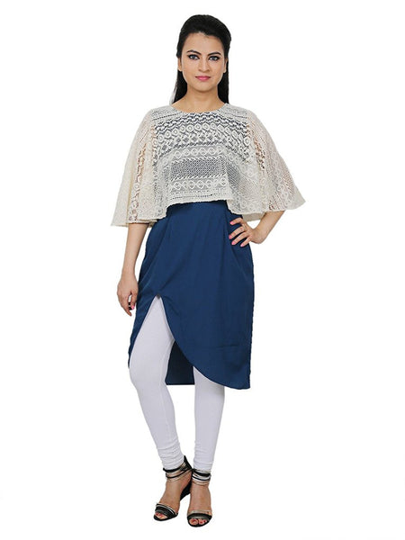 Fancy Latest Women's Smart Blue Crepe W/White Cotton Net Cape Jacket Kurti Suit - Designer Kurtis