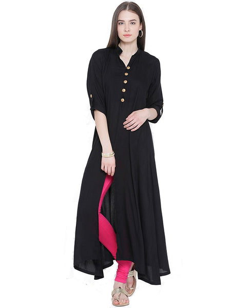 black-color-plain-casual-long-kurta-with-front-open-&-golden-toggle-work-a065