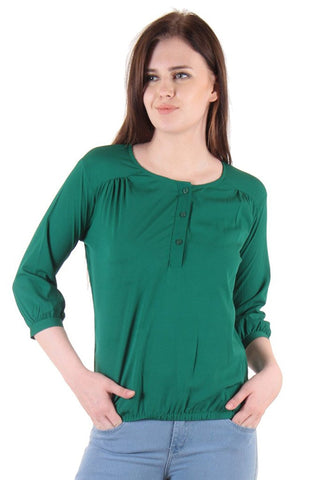 Casual Tops Dark Green Color Polycrepe Printed Tops Ladyindia88