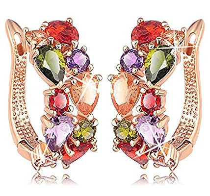 Flowerets Vine Swiss Cubic Zirconia 18k Rose Gold Plated Clip-On Earrings