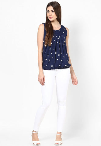 Designer Crep Top For Women Blue Top with White Star Printed Sleeveless Girls Top