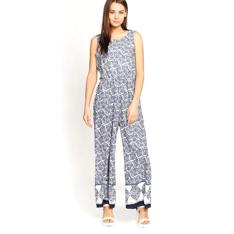 Casual Jumpsuits Navy Blue & White Color Printed Jumpsuits