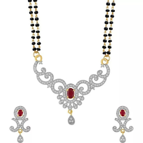 Jewellery Women's Pride American Diamond Gold Plated Mangalsutra Pendant Withtwo Chain And Earrings For Women