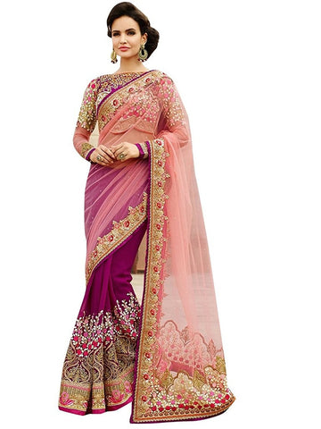 Designer Mono Net, Georgette Rani Pink Nylon Net Saree Fancy Embroidered Sarees For Women Party Wear Designer Saree