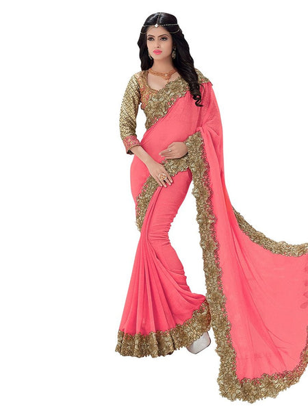 Latest Designer Party-wear Pink Colored Wedding Heavy Embroidered Sari Georgette Sari With Embroidery And Cut Work Border Women's Heavy Wedding Wear Sari with Embroidered blouse