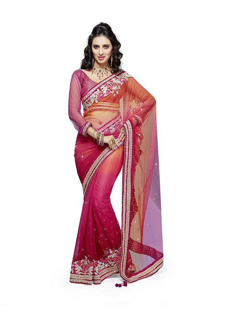 Buy Online Designer Party Wear Net Red Embroidered Saree With ...