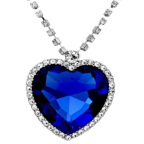 Blue Heart Necklace Pendant With Chain Gold Plated Jewellery For Women