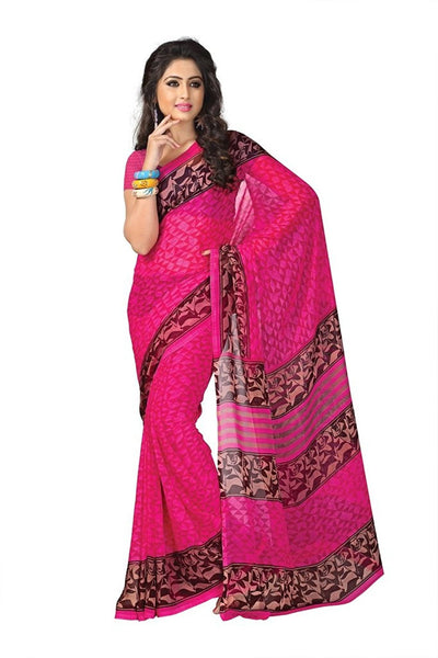 Pink Color Georgette Sarees With Printed Work S060