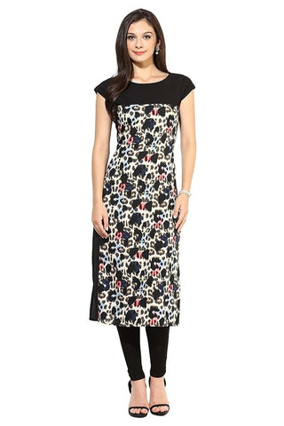 Black Color Printed Crepe Kurtis Faux Crepe Digital Print Long Crepe Kurtis