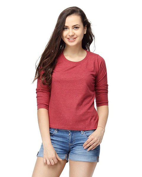 Red Color Plain Casual T-Shirts For Girls Ladyindia48