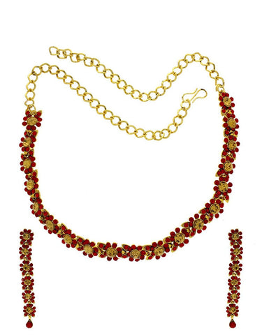 Designer Jewellery  Golden Colour Red Colour Stone Delicate Stylish Koren Necklace Set For Women