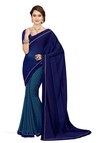 Blue Color Georgette Sarees With Printed & Lace Border Work S078