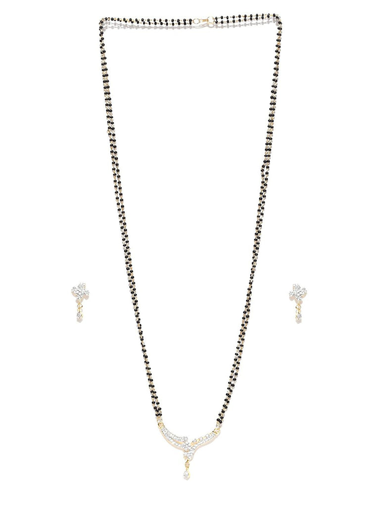 Shop Online Designer Pearls Cubic Zirconia Modern Style Mangalsutra Jewellery For Women Lady India