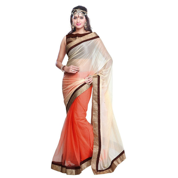 Designer Women's Cream & Orange Color Half And Half Net Saree Border Party Wear Saree