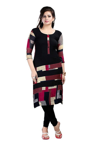 Black Cotton Kurta Casual Straight Long Cotton Kurtis For Girl