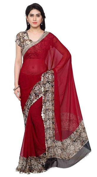 Red Color Plain Chiffon Sarees With Floral Border Work S051