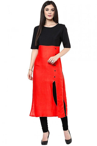 Casual Red And Black Simple Cotton Kurtis And Kurtas Cotton Casual Kurti For Women