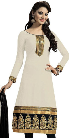Women's Cotton Unstitched Dress Material Designer Office Wear Lace Work Urvashi Rautela Suit