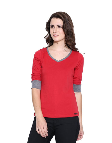 Online Girls s T-Shirt Red Color Cotton Casual T-Shirt For Girls Ladyindia25