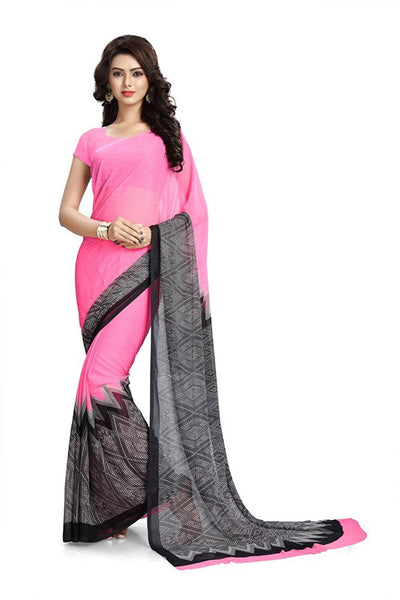 Chiffon Saree With Black & White Broad Border Work S086