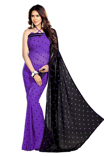 Half & Half Dots Print & Lace Work Georgette Sarees S057