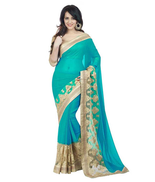 Bollywood Designer Original Women's Turquoise Saree With Blouse Piece