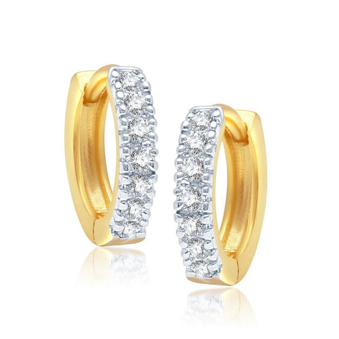 Fancy Gold And Rhodium Plated Alloy Bali Earrings For Women & Girls Made With Cubic Zirconia