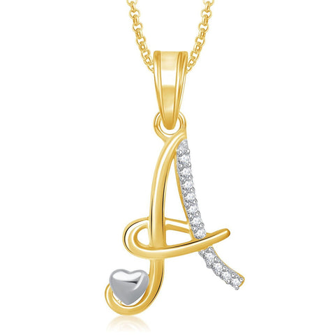 Meenaz 'A' Letter Pendant Locket Gold Plated Alphabet Pendent With Chain