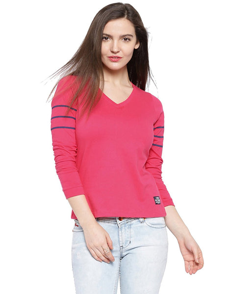 Pink Color Cotton Casual T-Shirt For Girls Ladyindia24