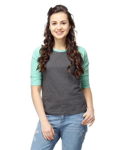 Sea Green & Black Color Plain Casual T-Shirts For Girls Ladyindia50