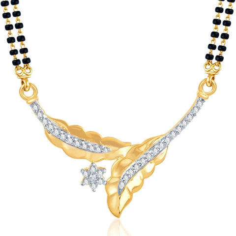Designer Jewellery Gold & Rhodium Plated Cz Mangalsutra Set For Women