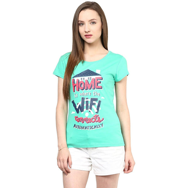 Green Color Casual T-Shirts For Girls With Graphical Print Ladyindia13