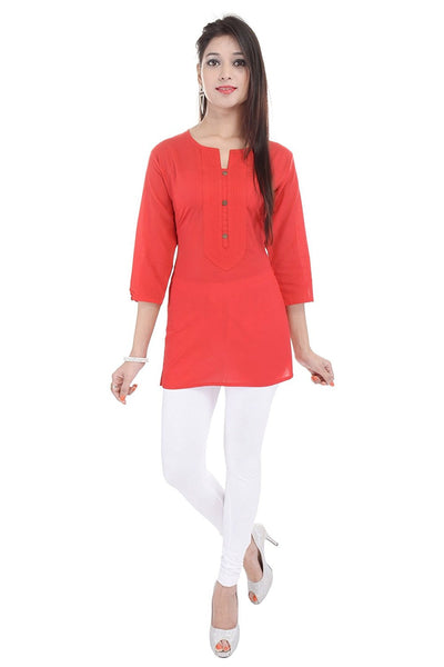 Short Kurtis Online Red Color Plain Cotton Kurtis For Girl K61
