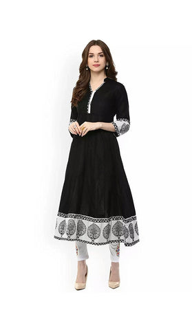 black-&-white-color-cotton-anarkali-kurtis-with-printed-work-a014