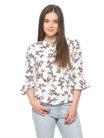 White Color Casual Tops Polycrepe Butterfly Print Top For Girls Ladyindia80