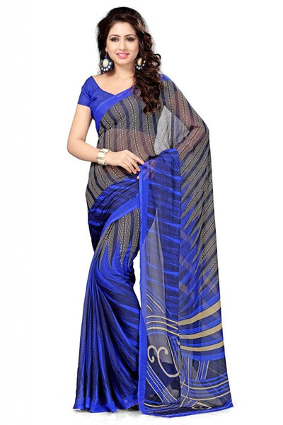 Beautiful Printed Sarees Half N Half Chiffon Sarees For Women S089
