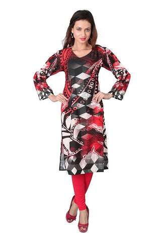 Red And Black Crepe Kurti Ladies Designer Kurtis With Digital Print Work