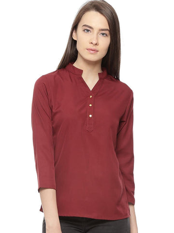 Maroon Polycrepe Plain Top For Women Ladyindia89